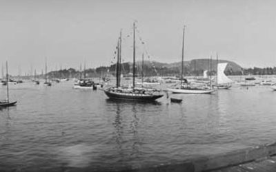 Santa Barbara CA. Wharf, Overlooking Moored Boats , CA-07