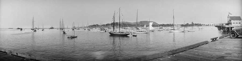 Santa Barbara CA. Wharf, Overlooking Moored Boats , CA-07